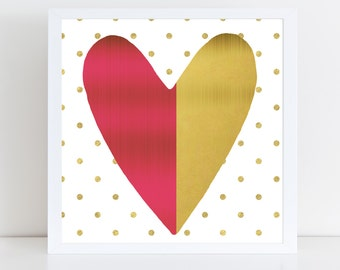 Pink and Gold Foil Heart Wall Art - Canvas Wall Art - Digital Prints - Modern Wall Art - Home Decor
