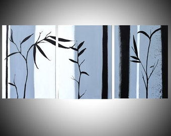 extra large wall art triptych hanging chinese painting bamboo art canvas art 3 panel wall three panel living room decor 3 BIG CANVAS SIZES