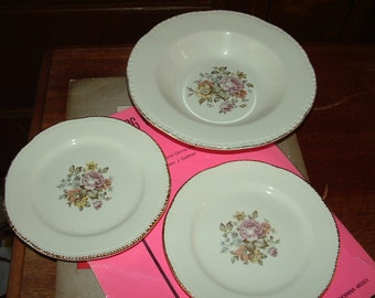 Cunningham Pickett / Homer Laughlin Soup Bowl and 2 Bread and Butter with Floral design