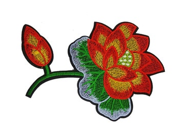 Rose Flower Embroidered Iron On Patch Applique, Iron On Red Flower Image Transfer