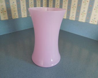 "Vintage Light Pink Glass Vase 8"" Tall"