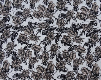 """Decorative Fabric, Antique Floral Print, White Fabric, Home Decor Fabric, 42"""" Inch Cotton Fabric By The Yard ZBC9408A"""