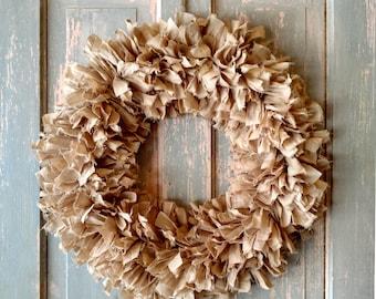 """20"""" Rag Wreath (Tea) - Farmhouse Wreath - Shabby Chic Wreath - Neutral Wreath - Year Round Wreath - Fall Wreath - Front Door Wreath"""