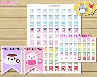 Tea Time Kawaii. Flags Printable Planner Stickers, Cute tea stickers for your life planner.