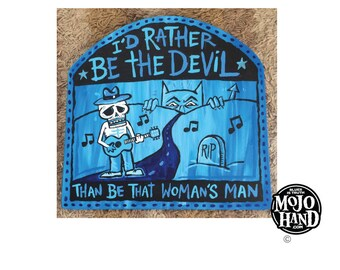 Rather be the Devil - Skip James -  blues folk art painting on wood by Grego of mojohand.com - outsider art