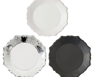 Porcelain Look Party Paper Plates,Party Plates by Talking Tables,modern party plates,party paper plates,black paper plate,silver paper plate