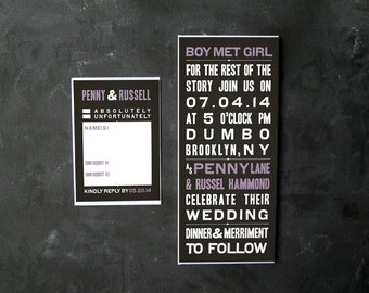 Penny and Russell- Cool Vintage Inspired invitations and RSVPs