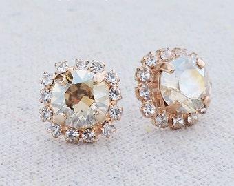 Swarovski Champagne Sparkle Brilliant Diamond Cut Crystal Faux Diamond Pave Halo Rose Gold Bridal Post Earrings Wedding Bridesmaids Gifts