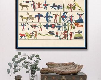 Southwest Art, Southwestern Art, Native American Hieroglyphs, Antique Indian,Native American Art, Nursery Art, Child's room, Colorful Art