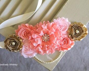 Maternity Sash, Pink Peach Maternity Sash, Pink Sash, Peach Sash, RTS, Pregnancy Sash, Flower Sash, Belly Sash, Peach Pink Gold Ivory