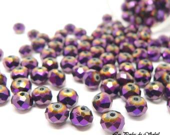 25 beads metallic purple rondelle 3 X 4 and 4x6mm