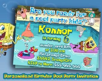 Pool party peppa pig invitationpeppa printable personalized pool party spongebob invitationspongebob birthday party invitespool party suppliesspongebob solutioingenieria Gallery