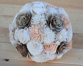 Blush Peach Sola Bouquet,Sola Flower Bouquet,Wooden Flowers, Rustic Wedding,Country Wedding,Decorations, Home Decor, Wedding Bouquet