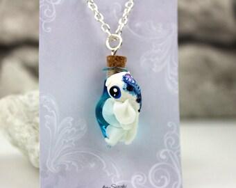 Necklace glas vial with a koi charm kawaii fantasy jewelry koi pendant goldfish