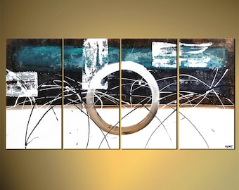 Teal Contemporary Abstract Painting, Original modern white painting on Canvas by Osnat - MADE-TO-ORDER