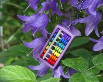 Colorful Abacus Pendant - Rainbow Pendant, Perfect Gift for Her, Gift for Teacher, Gift for Nerds! - Montessori Gift, Waldorf Gift