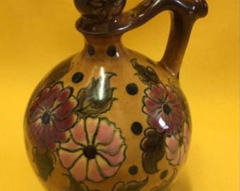 Antique #Zsolnay Hungarian-  hand painted // fire mug / Flagon / vase // Circa 1880
