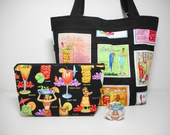 Large Tropical Tote Bag Set, Cocktails Tote with Pockets, Cosmetic Pouch and Pocket Mirror