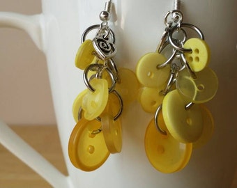 Yellow Button Earrings, Upcycled Earrings, Button Jewelry, Dangle Earrings, Charm Earrings, Earrings, Yellow Buttons, Button Earrings