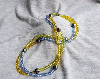 Yellow and Blue Wrap Bracelet Or Necklace, Multi Purpose Wrap Bracelet, Blue and Yellow Necklace, Blue and Yellow Bracelet, Long Necklace