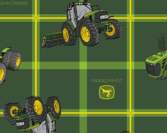 John Deere Tractors on Square Plaid Cotton Fabric by the yard