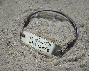 Custom Coordinates, Personalized Gift, Mens Bracelet, Custom Bracelet, Black Friday, Long Distance Boyfriend Gift