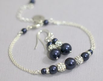 CUSTOM COLOR Pesonalized Navy (Night Blue) Pearl Bridesmaid Bracelet and Earring Set, Bridesmaid Jewelry, Bridesmaid Gift