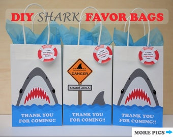 Shark FAVOR BAGS/ Shark Party Theme/ Shark Birthday/ Shark decorations/ Boys Pool Party Favors/ Shark Goodie bags/ Shark Attack Birthday