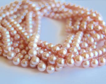 7.5mm round fresh water pearls, natural pearls, jewelry making supplies, circle of stones, pearl strands