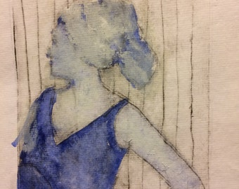 Gouache on drypoint print, woman with hair in towel