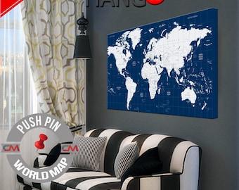 Large push pin map, World Map, Pushpin travel map, World map push pin, Canvas map of the world, Push Pin Travel Map, Large world map art