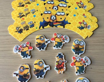 Minions Cupcake Topper and Wrapper - 24pcs Party Supplies