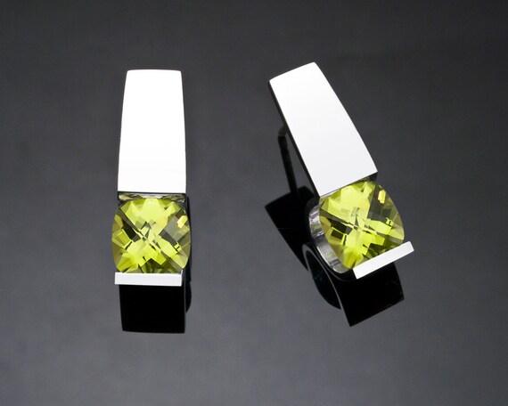 peridot earrings, August birthstone, gemstone jewelry, eco-friendly, Argentium silver, green earrings, modern jewelry - 2431