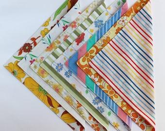 Fabric Napkins, Cloth Napkins, Reusable Napkin Set, Vintage Stripes, Handmade by Knotted Nest