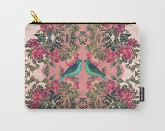 carry-all pouch-roses-floral design-birds-nature-feminine-make-up bag-coin purse-toiletries bag-ipad holder-purse organizer