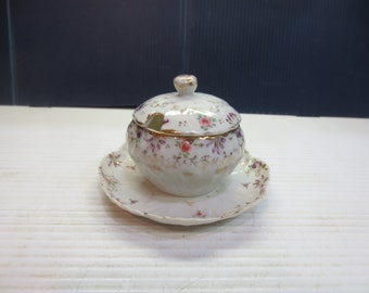 Hand-Painted Mustard or Jam Pot with Attached Underplate
