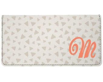 Trendy Monogram Grey Coral Triangle Design Trendy Personalized Monogram Checkbook Cover, Checkbook Case, Checkbook Holder, Ladies Checkbook