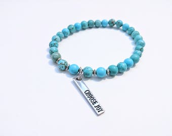 Teal Stone Stretch Bracelet with Inspirational Charm