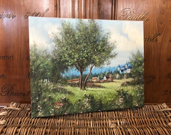 Vintage Landscape Painting - French Country Painting - Oil Painting on Canvas - French Painting - Vintage Art - French Countryside Painting