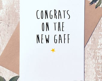 New house greeting card, new home, funny card, mortgage card, congratulations card, New gaff, funny greeting card, new home card, good luck