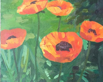 Original oil painting - garden - poppies