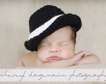 CROCHET PATTERN Digital Download -  Lil' Gangsta Trilby Fedora Hat - NEWBORN  -  Great Photography Prop pattern
