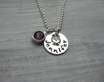 Owl Necklace Personalized Jewelry Birthstone Necklace Hand Stamped Sterling Silver Owl Jewelry Tween Jewelry Teen Jewelry Name Necklace