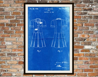 Blueprint Art of Skirt and Blouse 1940's Vintage Technical Drawings Engineering Drawings Patent Blue Print Art Item 0065