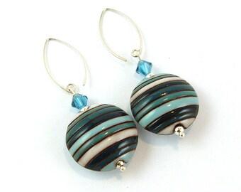 Blues Handmade Ceramic Stoneware Sterling Silver Earrings