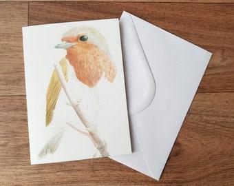 Blank Card - Robin | Greeting Card | Bird Birthday Card  | Thank you Card | Bird lovers card | Wildlife Illustrated Card | Animal Lovers