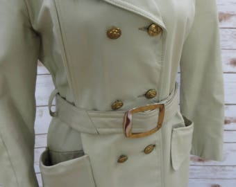Vintage 60's-70's Leather Mod Style Double Breasted Knee LengthTrench Coat Size medium