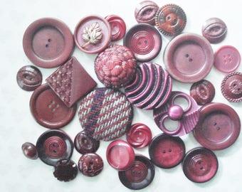 Vintage Burgundy Buttons - Maroon Plastic Buttons - 28 Burgundy Plastic Buttons - Unique Fancy Burgundy Button - Unique Wine Buttons