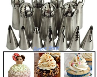 14Pcs Pastry Nozzles Icing Piping Tips Russian & Cake Decorating Tulip Nozzle Piping Set Stainless Steel Baking Tools