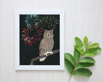Owl Print-Great Horned Owl-Owl Art-Nursery Decor-Nursery Wall Art-Owl Wall Art-Fireworks-Celebration-Fourth of July-Kids Room-Woodland Print